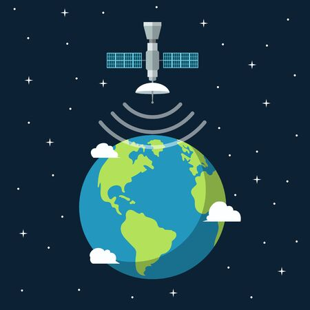 Earth banner with satellite. Vector illustration flat design. Isolated.