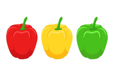 Vector illstration of peppers set. Flat design. Isolated. Ilustrace