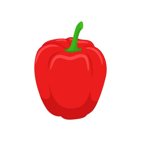 Vector illstration of red pepper. Flat design. Isolated. Ilustrace