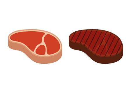 Vector illstration of steak raw and grilled icon. Flat design. Isolated.