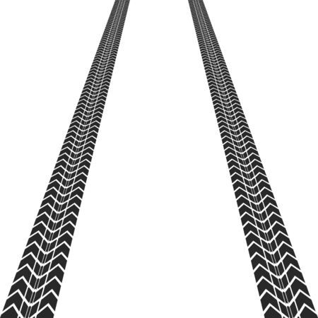 Vector illstration of textured tire track on white background. Иллюстрация