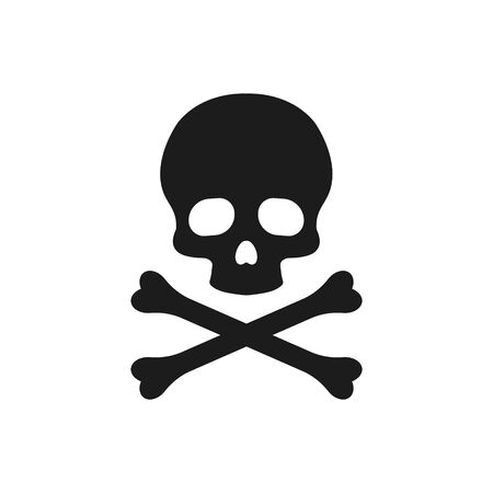 Vector illstration of skull with cross bones icon. Flat design. Isolated.