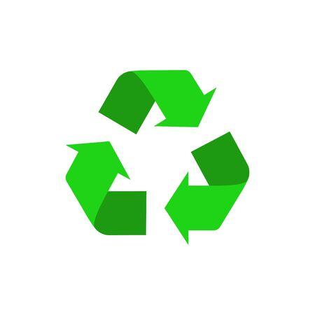 Ilustración vectorial del icono de reciclaje. Diseño plano. Aislado. Ilustración de vector