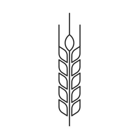 Vector illstration of wheat ears icon. Outline design. Isolated.