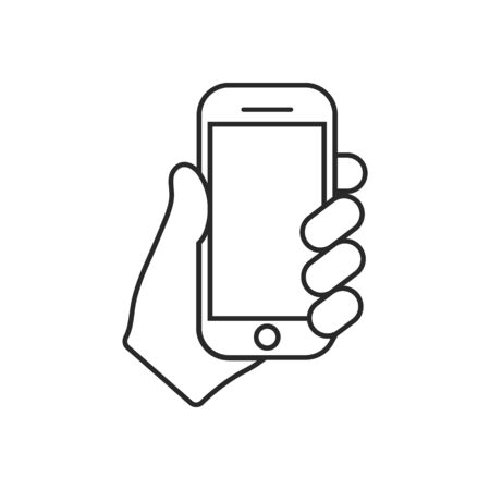 Mobile phone in hand icon. Vector illustration. Isolated.