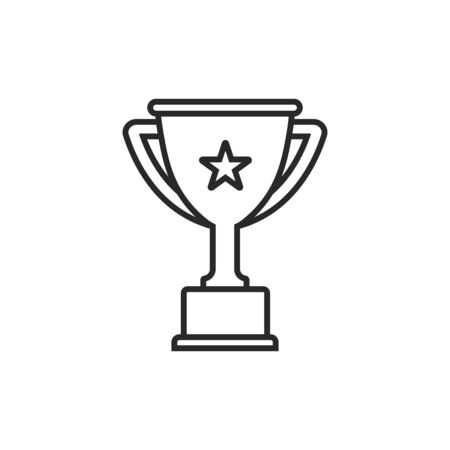 Vector illstration of winner cup icon. Outline design. Isolated.