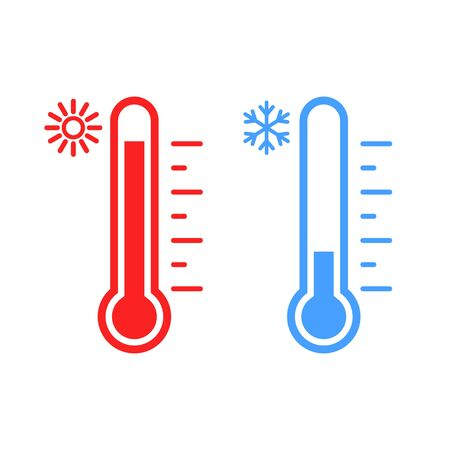 Vector illstration of temperature icon. Flat design. Isolated.