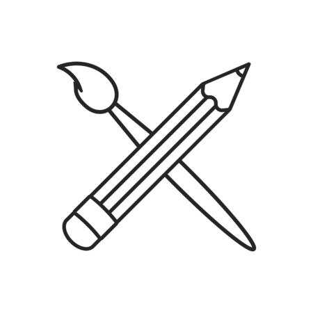 Art brush and pencil crossed icon. Outline design.