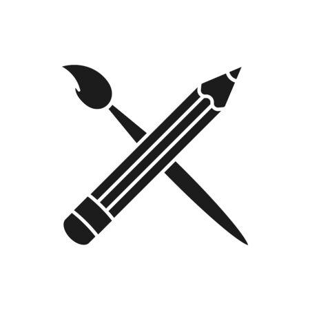 Art brush and pencil crossed icon. Flat design.