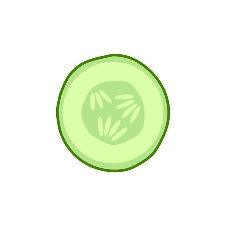 Vector illstration of sliced cucumber. Flat design. Isolated.