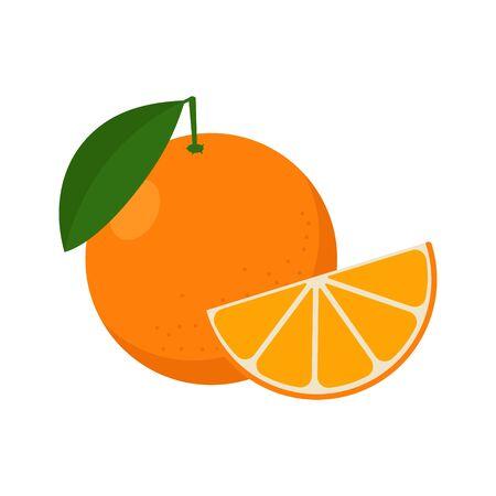 Vector illstration of orange. Flat design. Isolated.