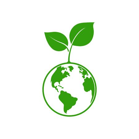 Planet and leaf logo. Vector illustration. Isolated. Logo