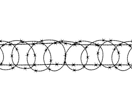 Barbed wire seamless pattern. Vector illustration. Islated.