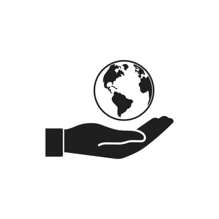 Vector illstration of planet in hand icon. Flat design.
