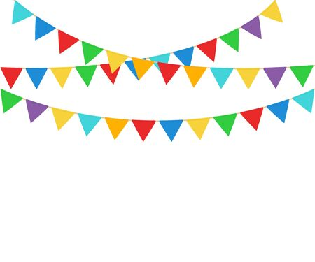 Vector illstration of party flags on white background.