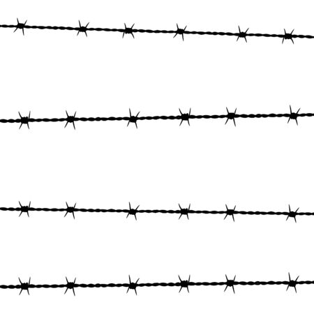Vector illstration of barbed wire on white background. Isolated. Vector Illustration