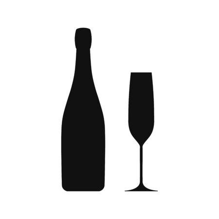 Champagne goblet and bottle icon. Vector illustration.