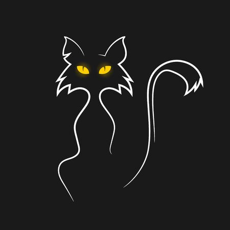 Vector illustration of cat on black background. Isolated.