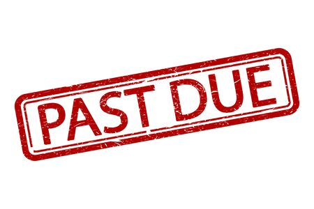 Vector illustration of past due stamp. Flat design. Isolated.