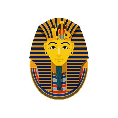 Vector illstration of pharaon mask. Flat design. Isolated. Ilustrace
