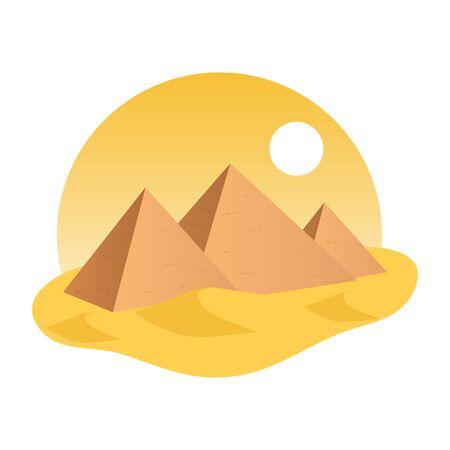 Vector illstration of egypt pyramid. Flat design. Isolated.