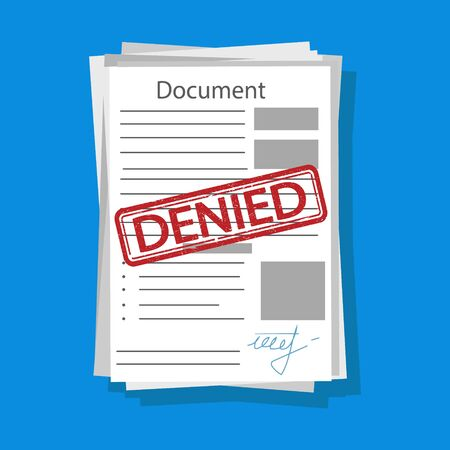 Vector illstration of denied document. Flat design. Isolated.
