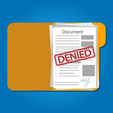 Vector illstration of denied document on blue background. Isolated.
