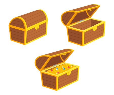 Vector illstration of treasure chest set. Flat design. Illustration