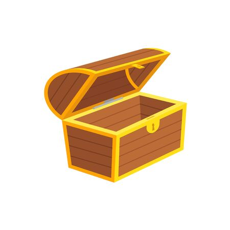 Vector illstration of empty chest. Flat design. Isolated.