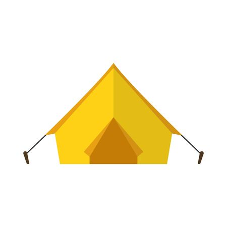 Tent for outdoor leisure in vacation. Flat design. Vector.