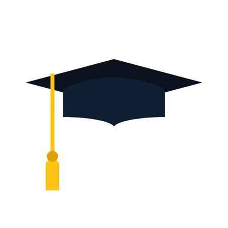 Vector illstration of graduation cap on white background. Isolated.