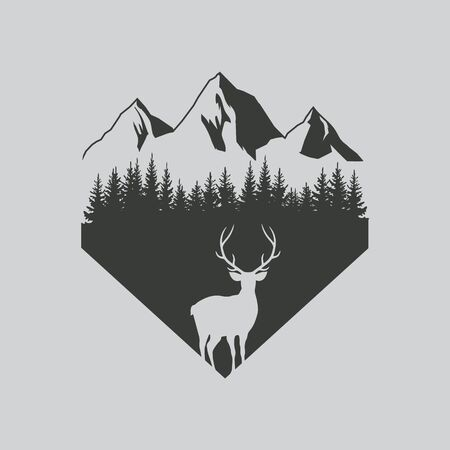 Deer in forest design. Vector illustration. Isolated.
