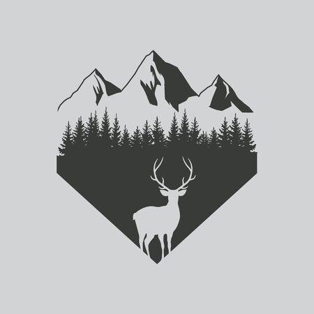 Hirsch im Walddesign. Vektor-Illustration. Isoliert.