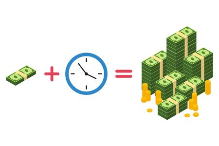 Vector illustration of time is money concept. Isolated.