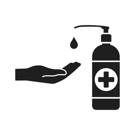 Liquid antiseptic black icon. Vector illustration, flat design. Isolated. Illustration