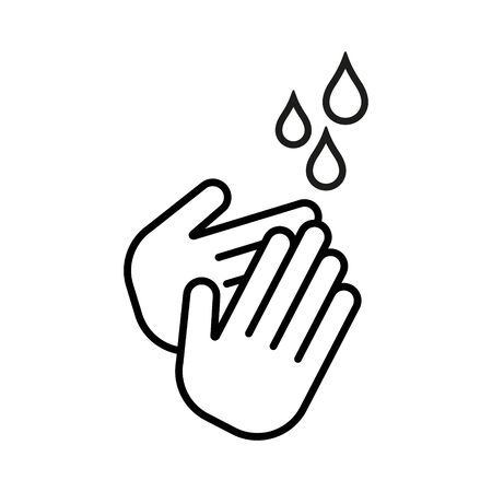 Hands cleaning with water icon. Linestyle disign. Isolated.