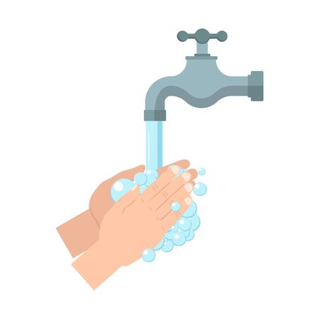 Hands under falling water out of tap. vector illustration. Isoalted.