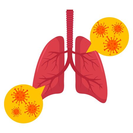 Lungs with virus. Vector illustration. Flat design.