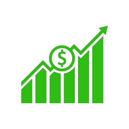Dollar growth graphic icon. Vecotor illustration. Flat design.  イラスト・ベクター素材