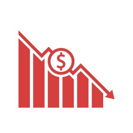 Dollar fall icon design. Vector illustration, flat design.