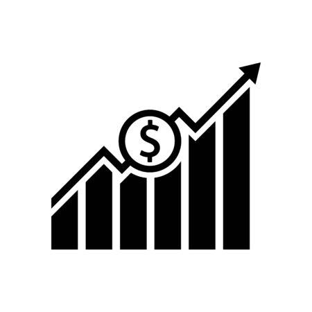 Dollar growth black icon. Vecotor illustration. Flat design.  イラスト・ベクター素材
