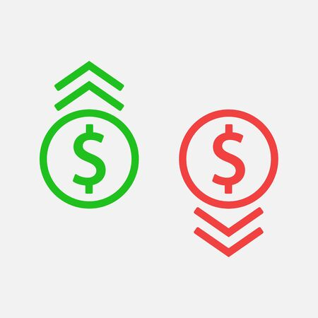 Dollar fall and growth icon design. Vector illustration, flat design. Isolated.