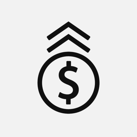 Dollar up icon design. Flat style. Isolated.