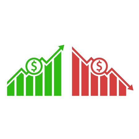 Dollar up and down. Vector illustration, flat design.  イラスト・ベクター素材