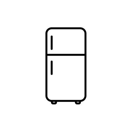 Fridge icon in outline style. Vector illustration on withe background. Isolated.