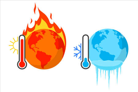 Hot and cold planet. Vector illustration on withe background. Isolated.