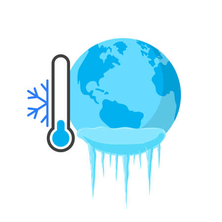Planet in ice. Vector illustration on withe background. Isolated.
