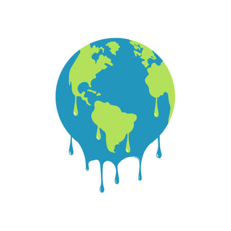 illustration of melting earth showing global warming. Isolated. 矢量图像