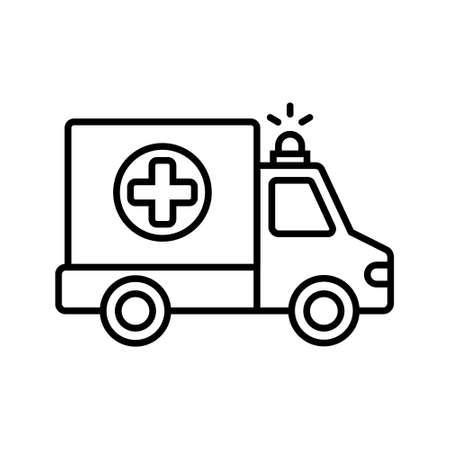 Ambulance icon. Vector illustration on withe background. Isolated.