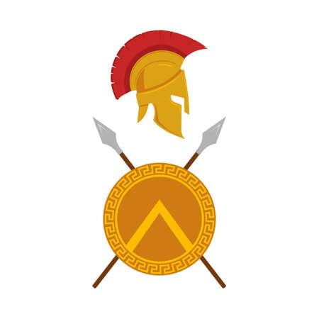 Spartan shield, helmet and spears design. Vector.